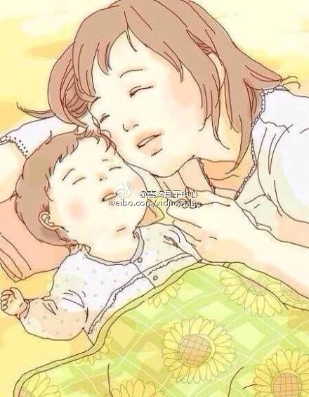 可爱漫画版温馨母子图