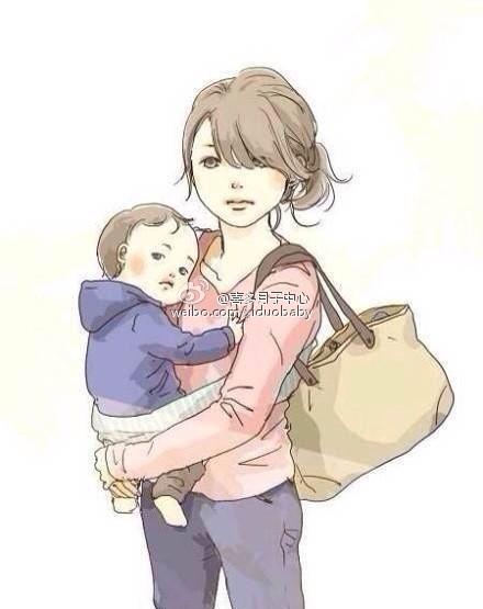 卡通头像母子 背影